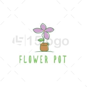 flower pot online logo template