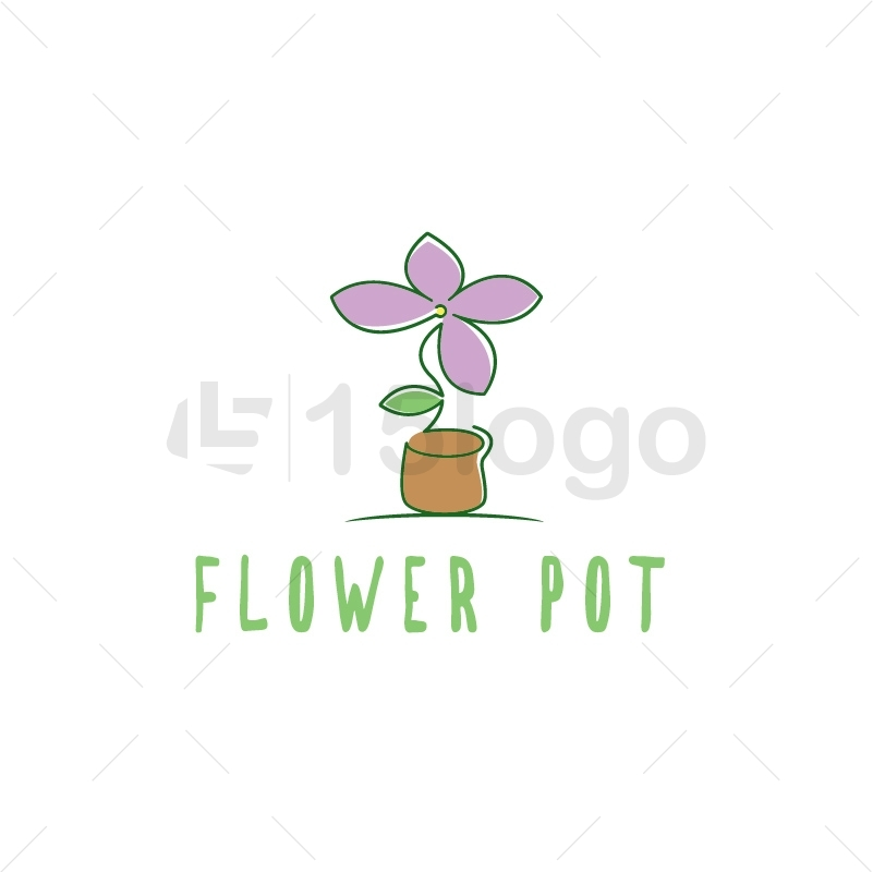 Flower Pot Logo Template