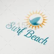 surf beach logo design