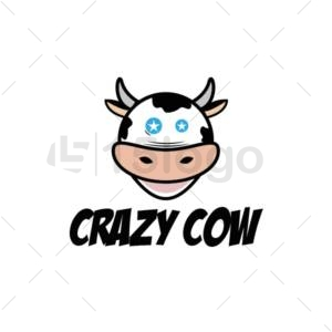 crazy cow logo design