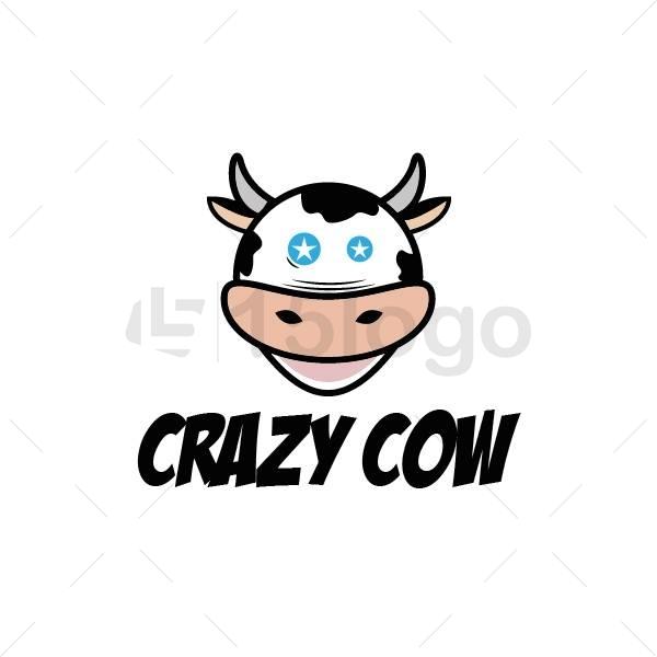crazy cow logo design