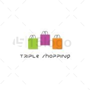 triple shopping logo design