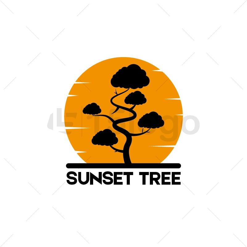 Sunset Tree Logo Template