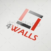 4 walls Logo Design