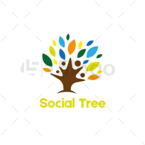 Social árbol logo plantilla