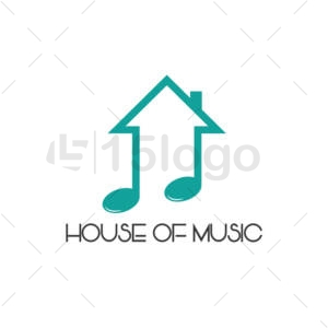 house of music shop logo design