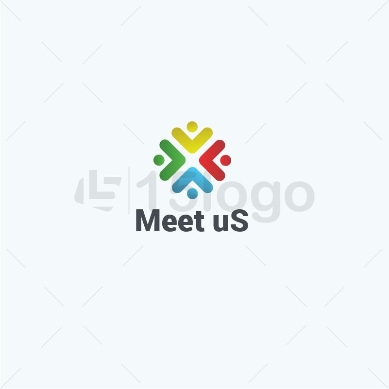 Meet us logo design