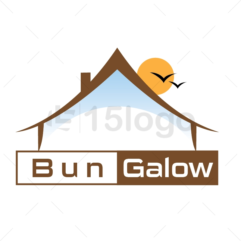 Bungalow resort logo template